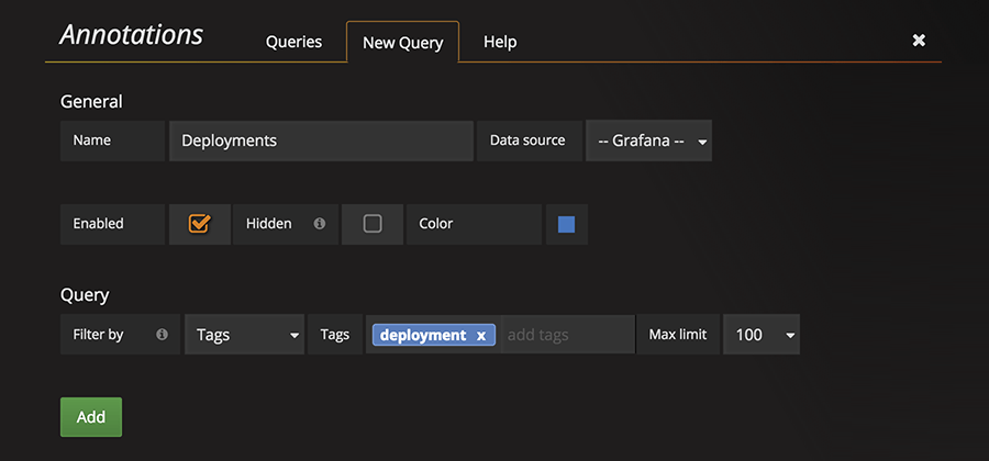 Grafana: Screenshot showing the new annotation setup