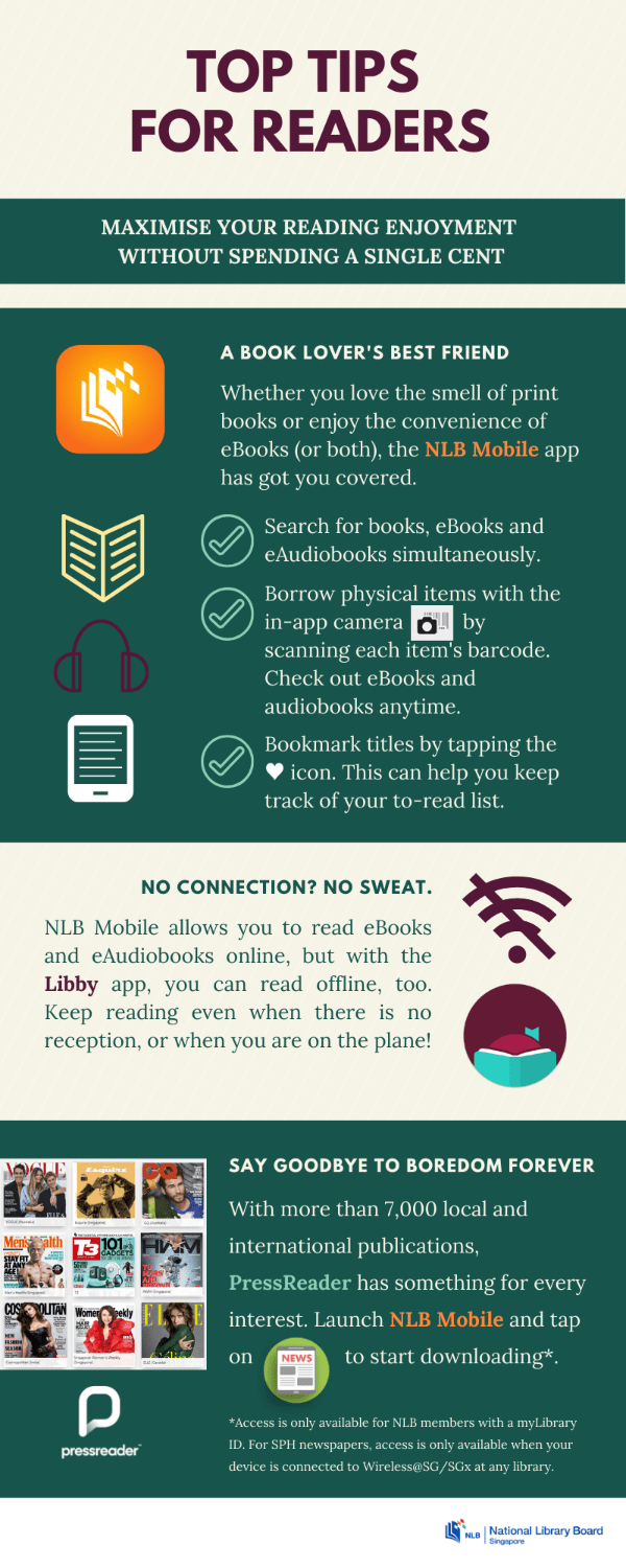 An infographic with tips on how to fuel your reading habit without spending a cent.