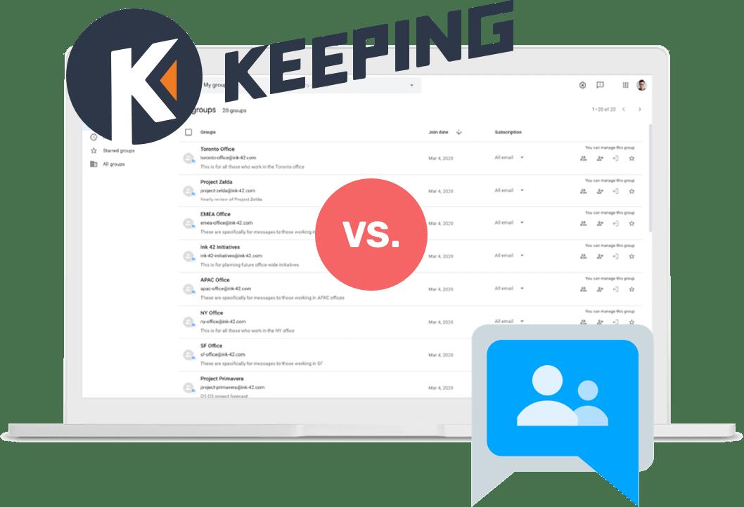 Keeping vs Google Groups Image