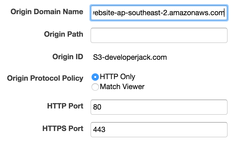 CloudFront origin configuration for developerjack.com