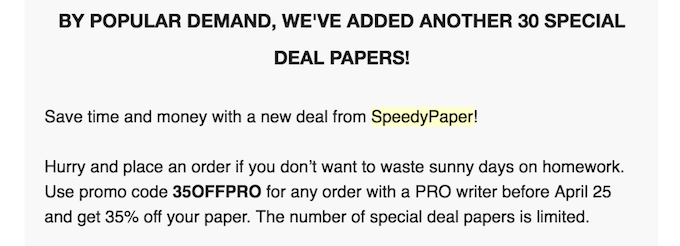 speedypaper.com discounts