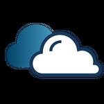 Ícone de com duas nuvens (escura e clara) representando funcionalidade em nuvem