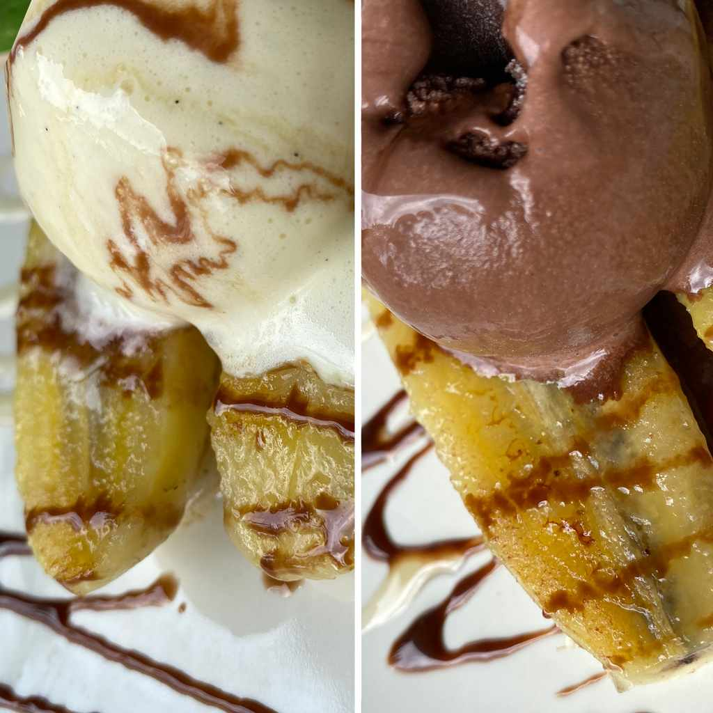 desserts: grilled banana