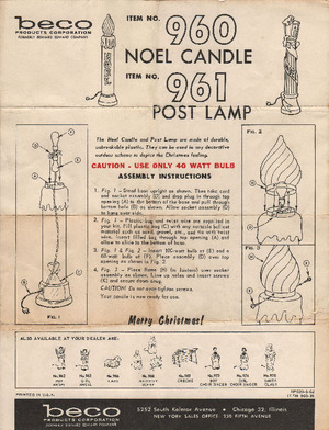 Beco Products Noel Candle #960, Post Lamp #961 Instruction Manual preview
