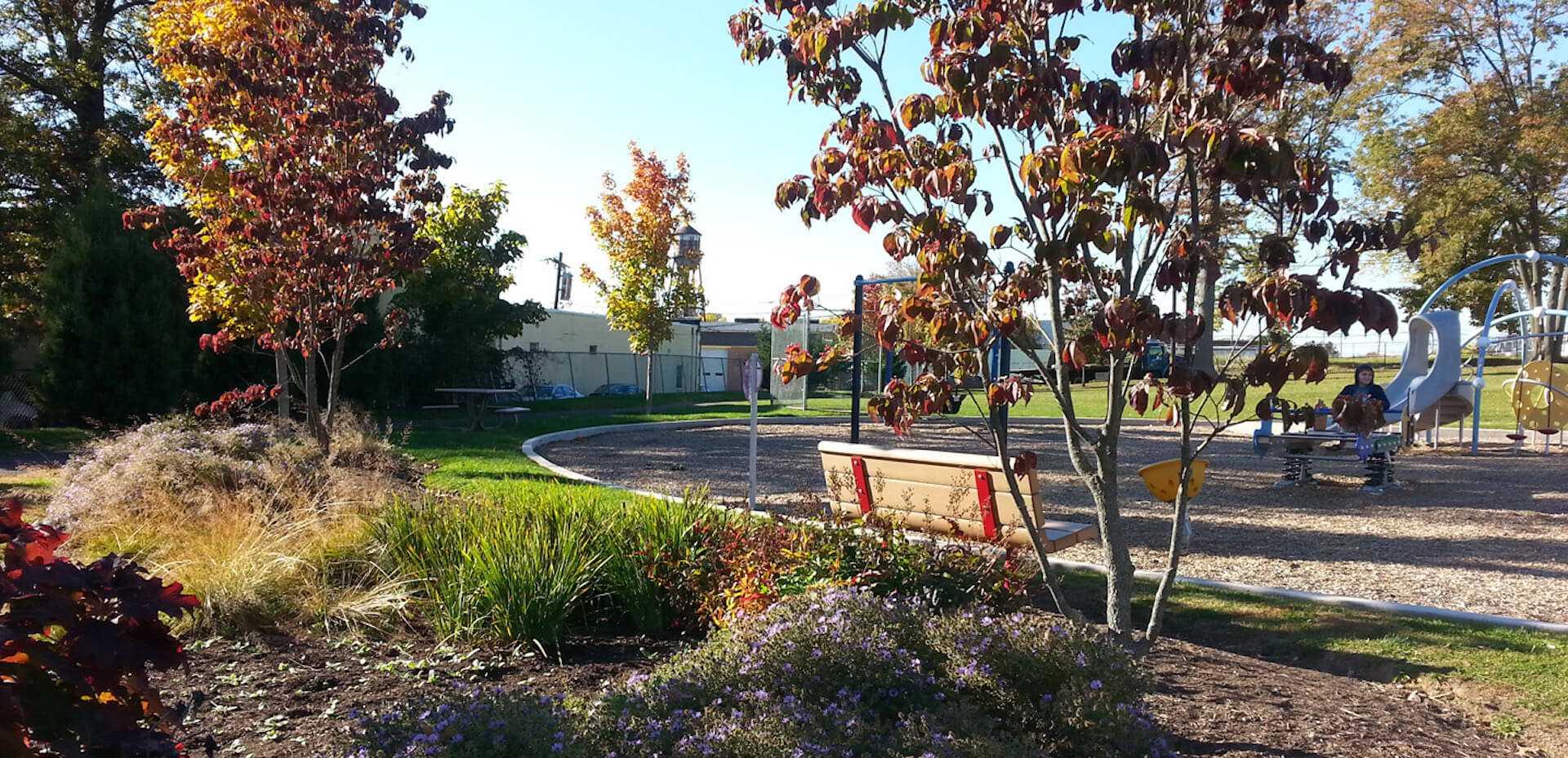 public park behind the landscape