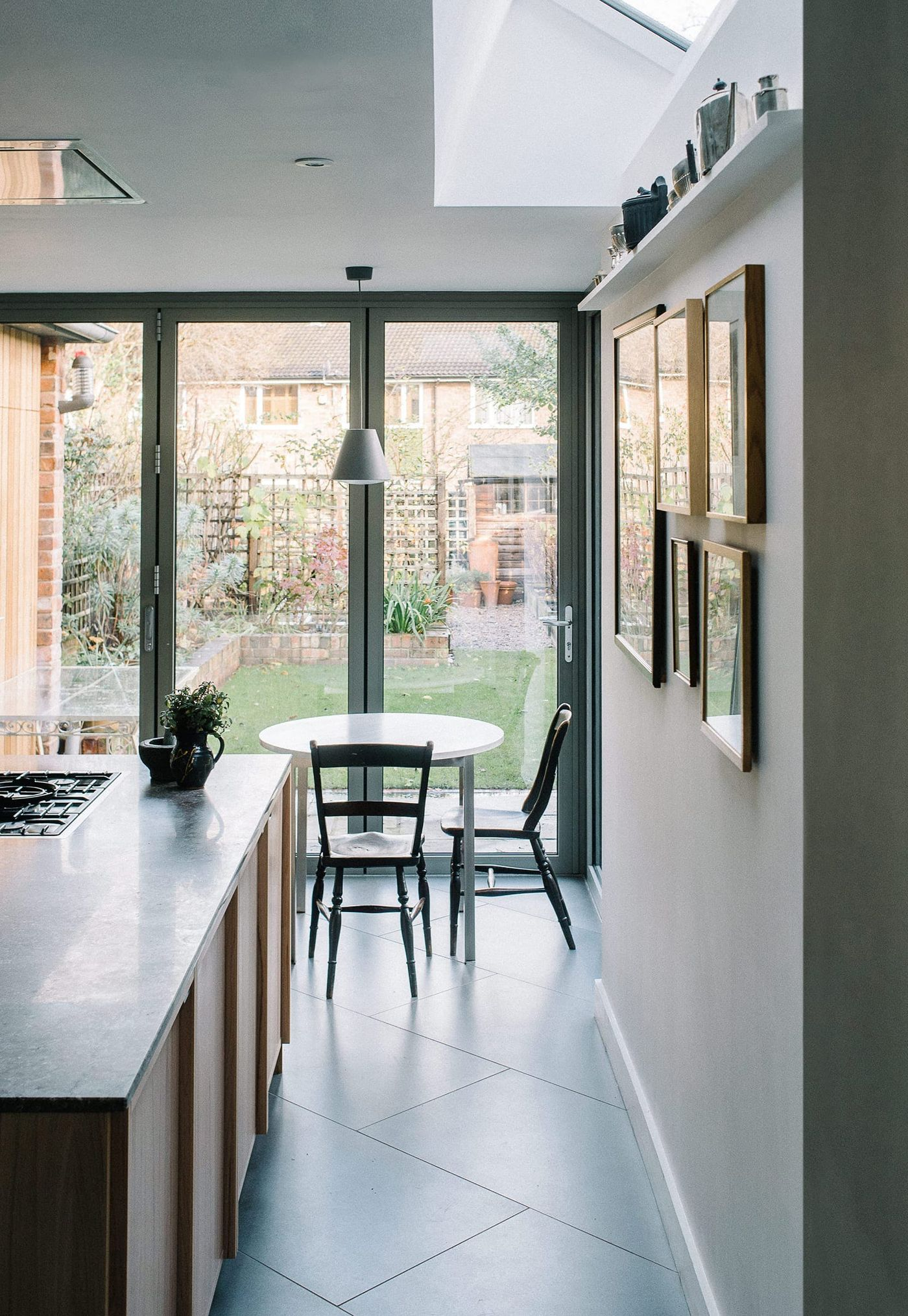 View down to RM table within From Works bespoke designed kitchen at Southgrove Road in Sheffield.