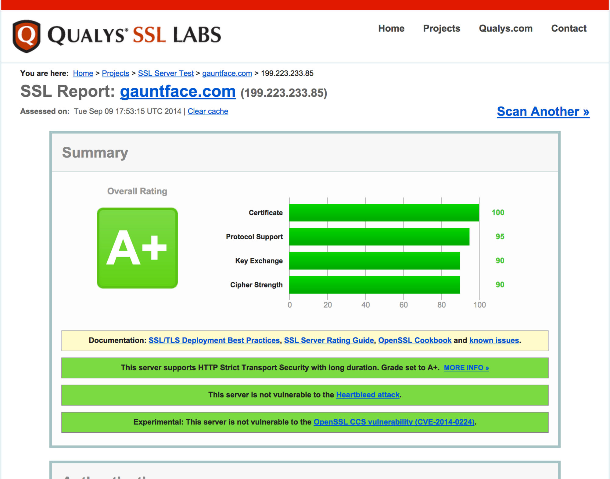 SSLLabs Test Results for Gauntface.com