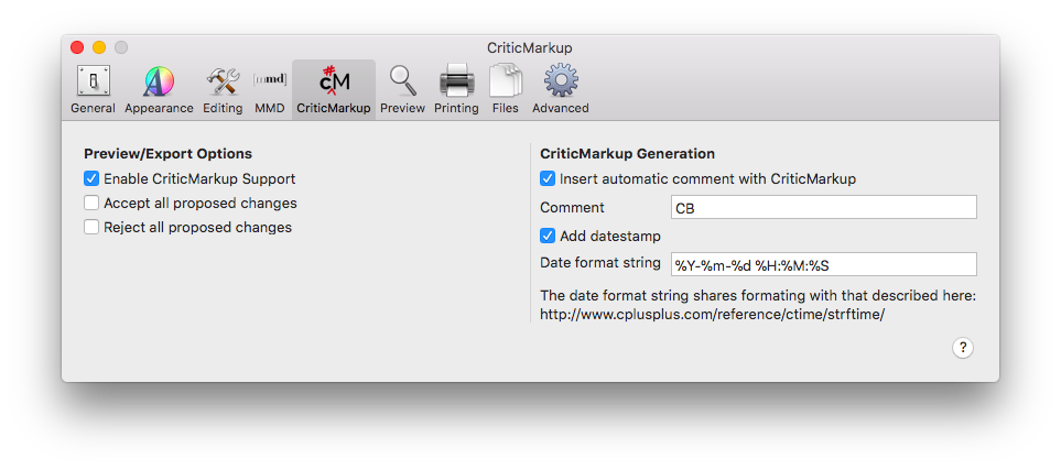 MMC CriticMarkup settings