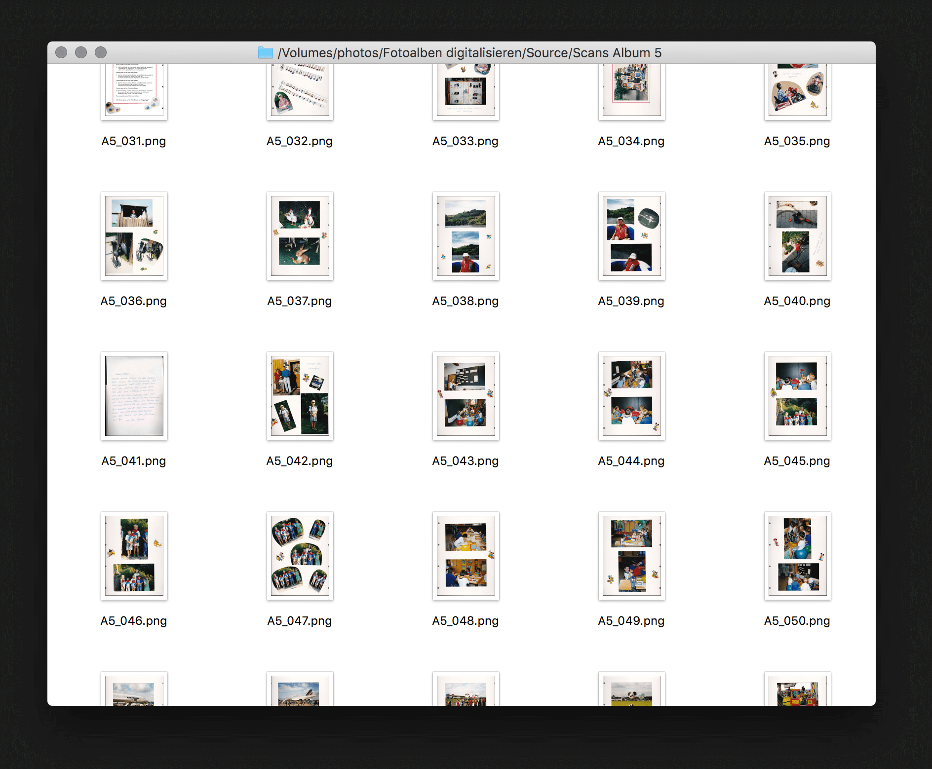 A handful of scanned album pages. These are the source files which are being processed in the next step.