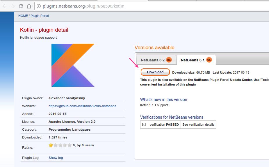 Download Plugins kotlin untuk netbeans