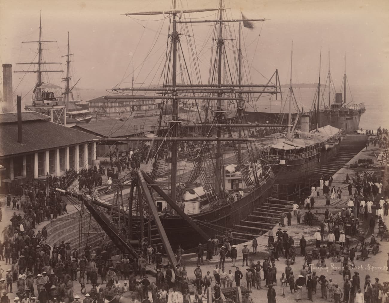 Vessels being repaired in Victoria Dock, 1890s