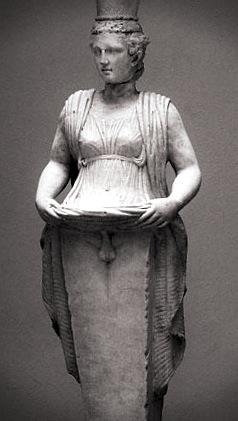 statue of hermaphroditus lifting her dress