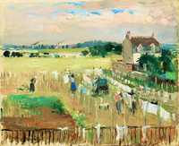 'Hanging the Laundry out to Dry' painted by Berthe Morisot in 1875, National Gallery of Art