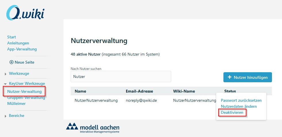 Die Nutzerverwaltung mit hervorgehobenem Knopf zum Deaktivieren :P
