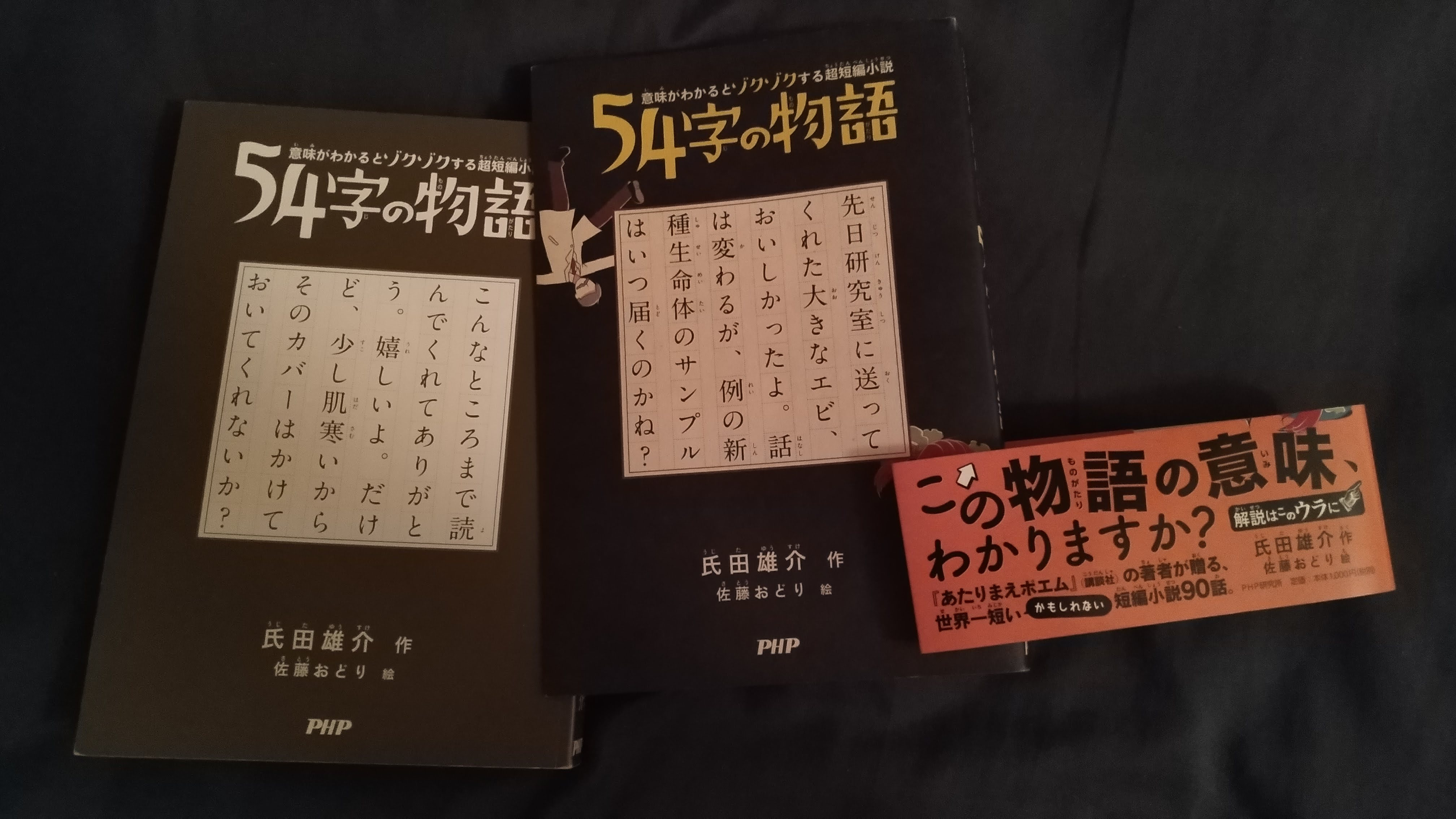 Belly-band and dust cover next to the gray cover showing a short story: こんなところまで読んでくれてありがとう。嬉しいよ。だけど、少し肌寒いからそのカバーはかけておいてくれないか?