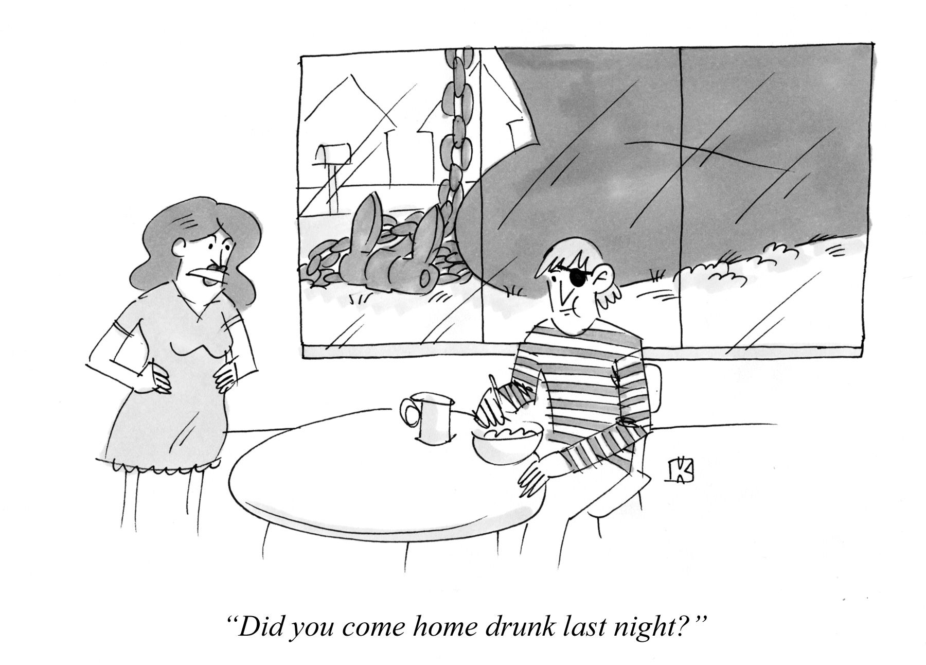 Cartoon about a sailor coming home drunk
