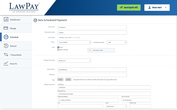 new scheduled payment form on the LawPay app is easily located in the app menu