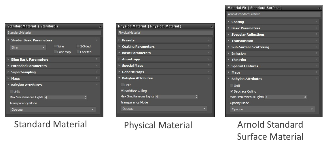 3DS MAX babylon material attributes