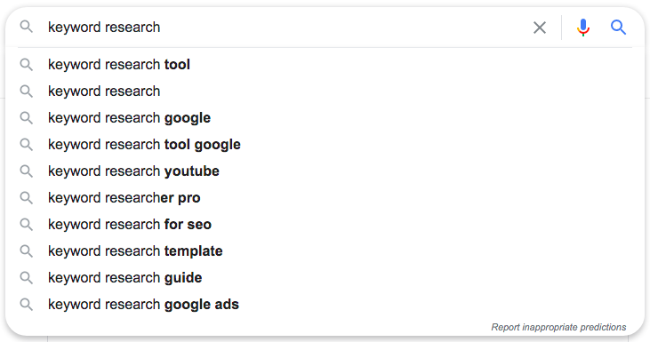 Google autocomplete suggestions for questions related to keyword research.