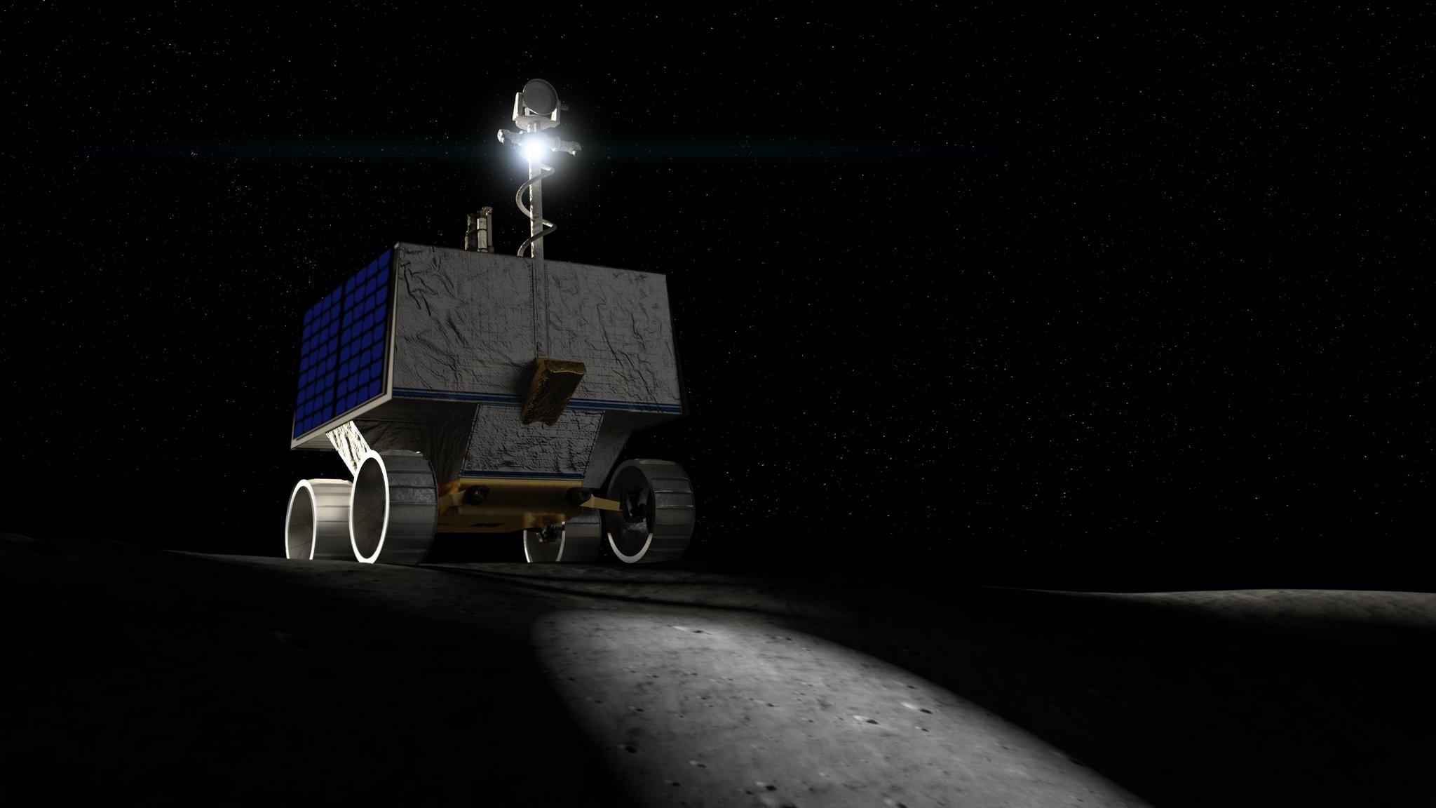 Imaginea 1: Roverul selenar VIPER al NASA, care pregătește revenirea echipajelor de astronauți pe Lună (CGI, sursă:/NASA/)