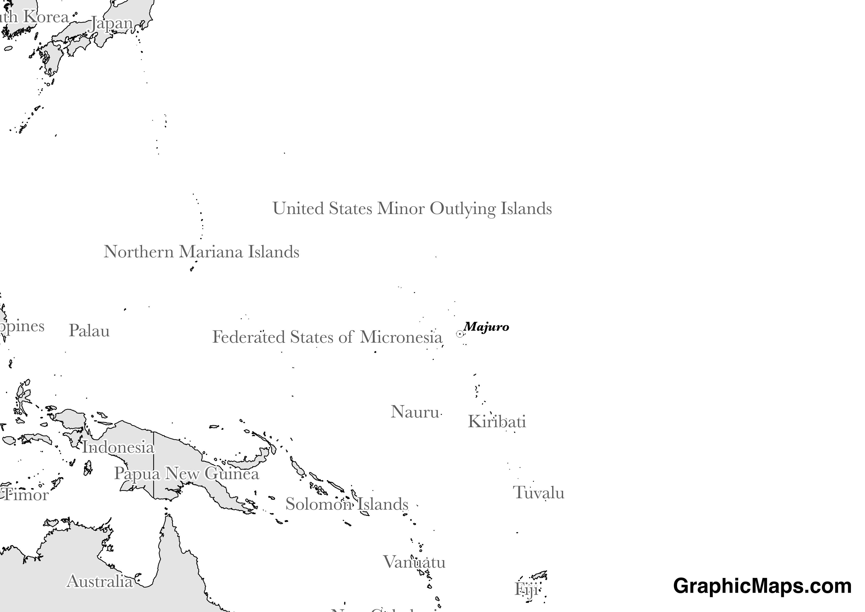 Map showing the location of Marshall Islands