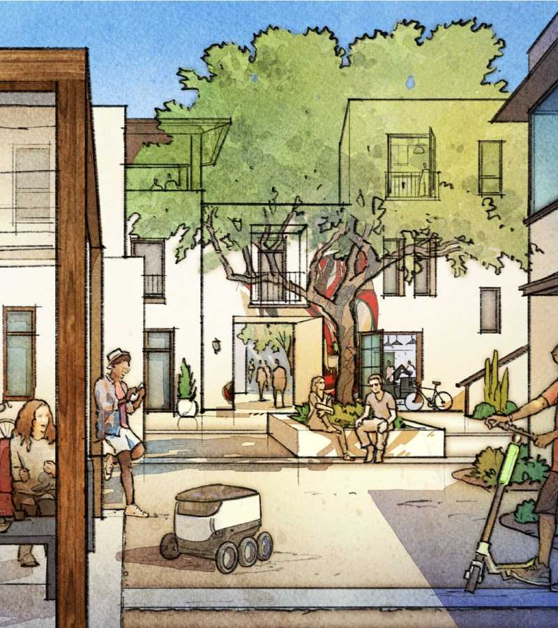 Watercolor sketch of neighbors relaxing in a Culdesac courtyard.