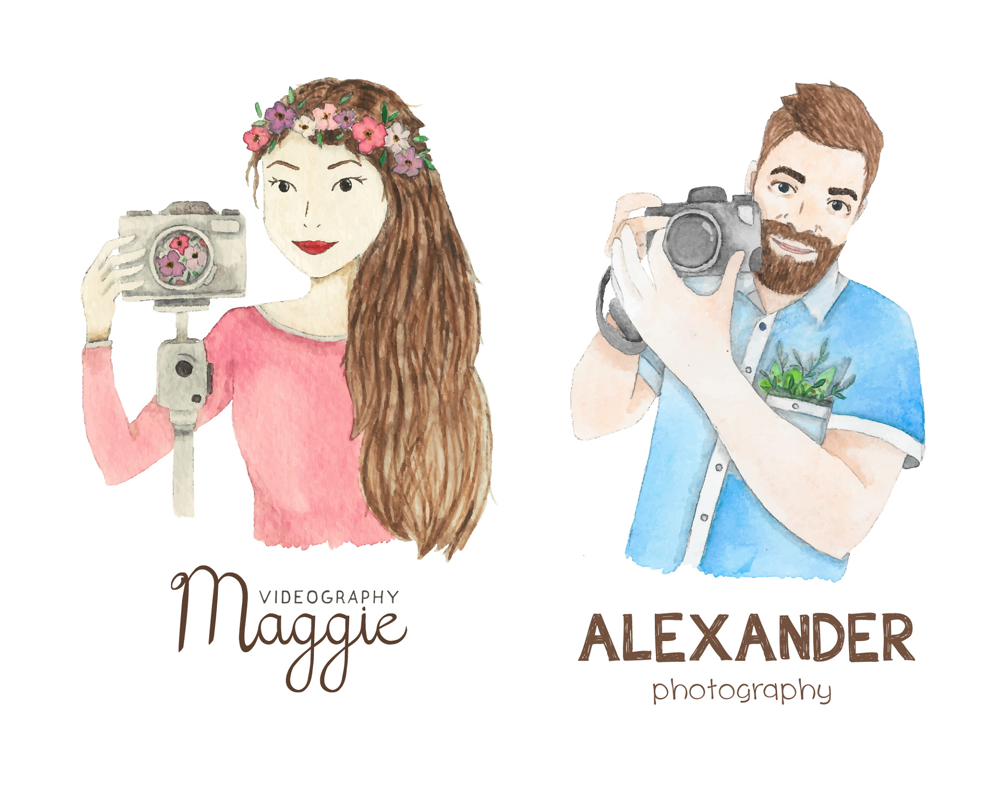 logos and business cards for a photographer/videographer couple item