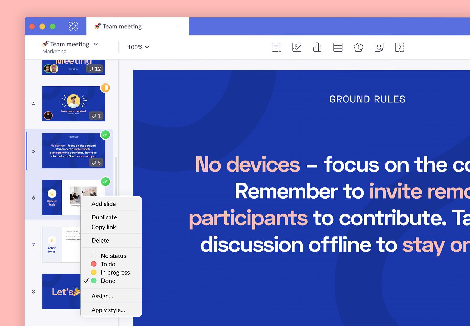 pitch multiselect presentation slides