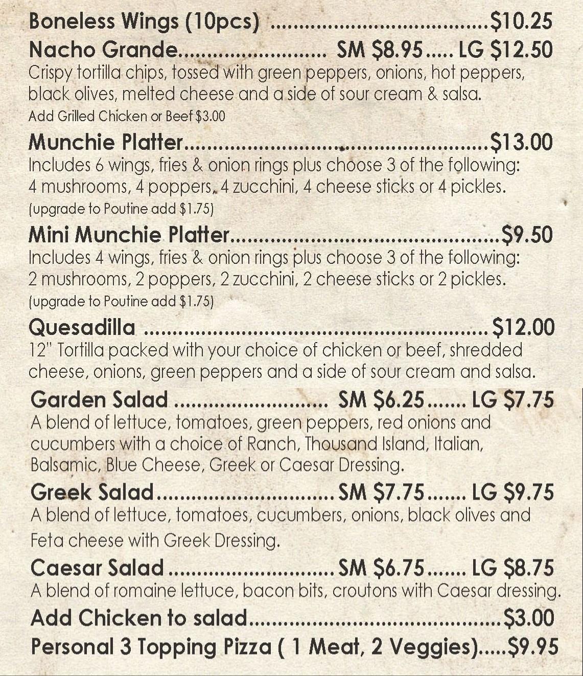 Munchies & Salads Menu