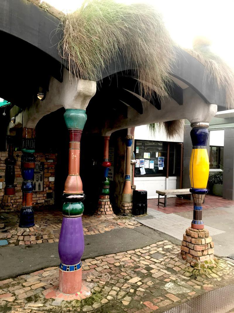 Exterior of the Hundertwasser toilets in Kawakawa