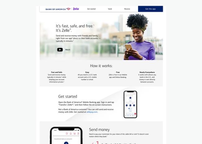 Screenshot of Zelle site on desktop