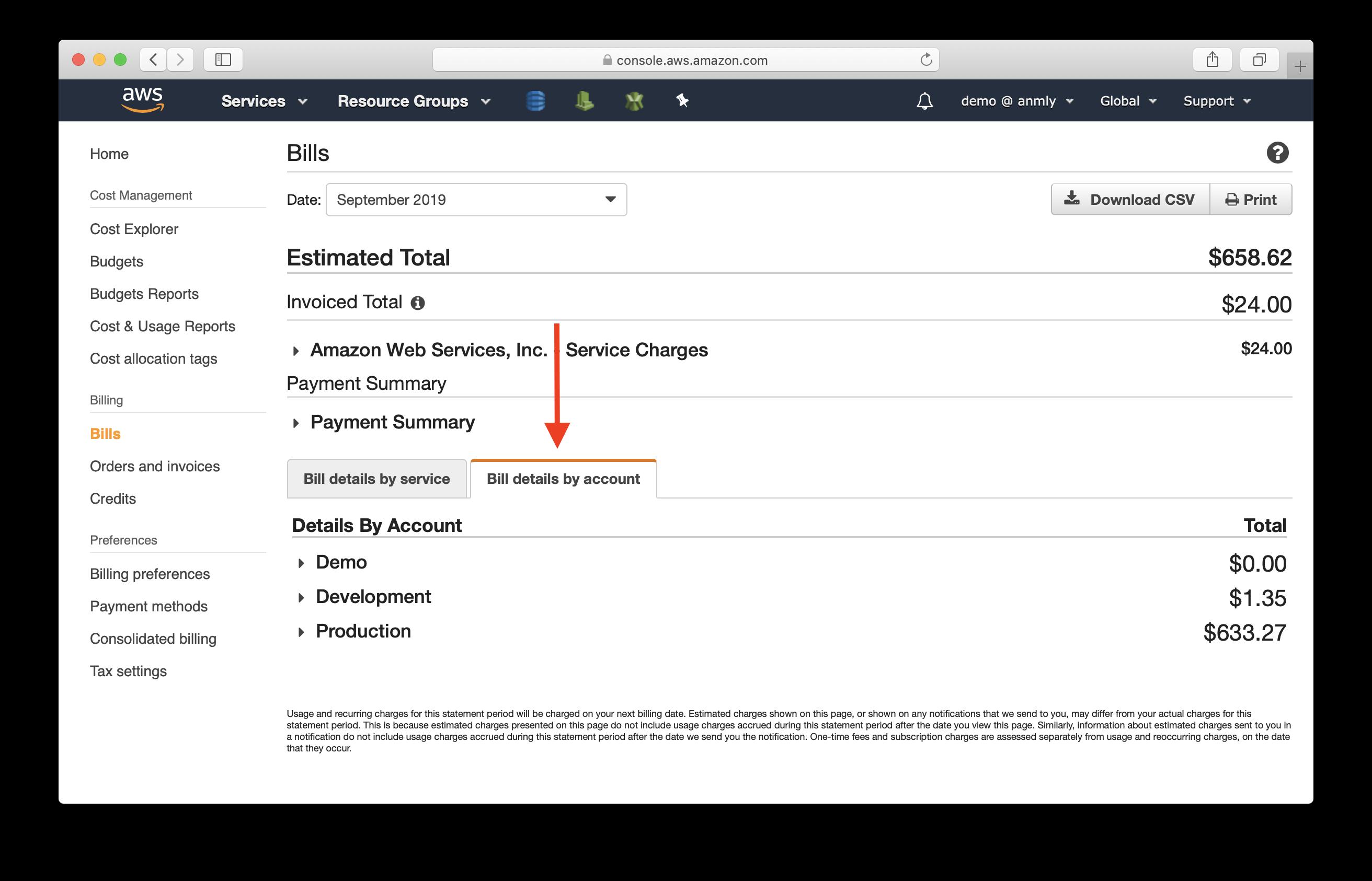 Select Bill details by account screenshot