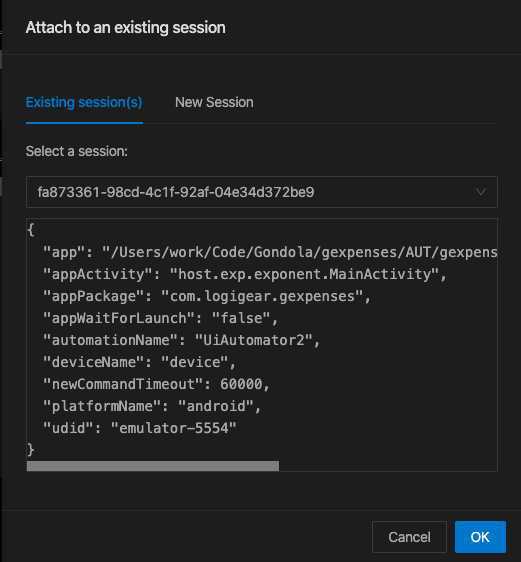Attach to an existing session
