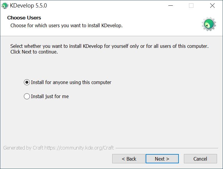 選擇 KDevelop 的使用者