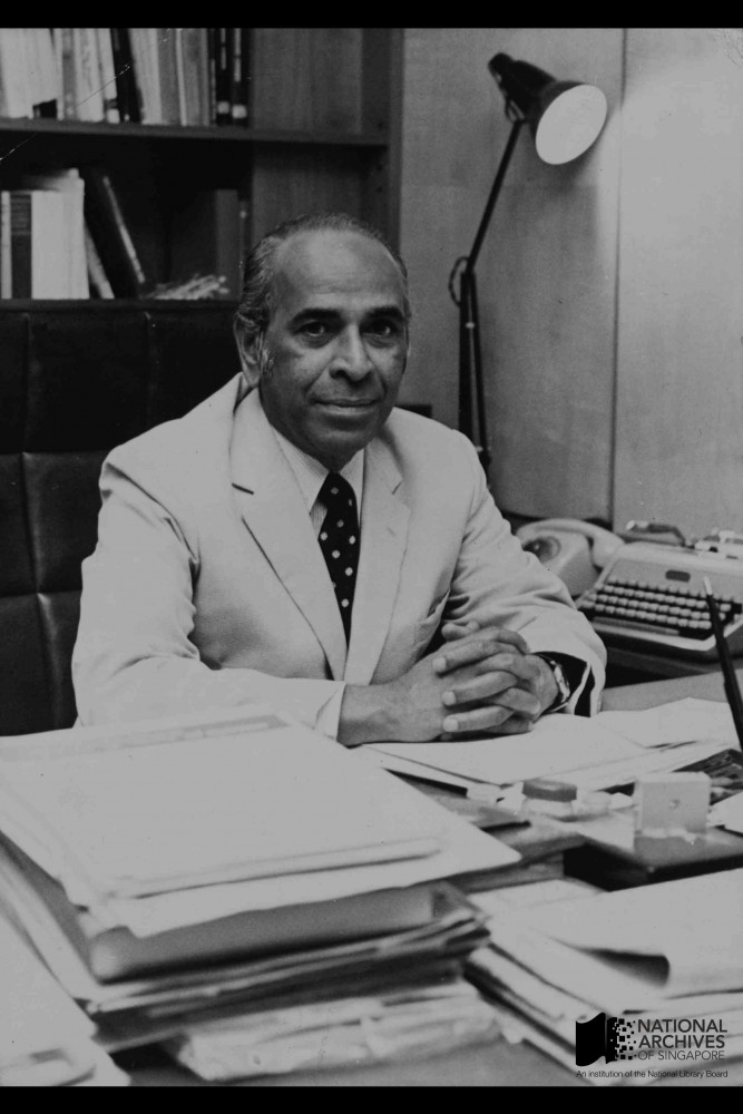 S Rajaratnam, Minister for Culture, in his office, 1950s Source: National Archives of Singapore