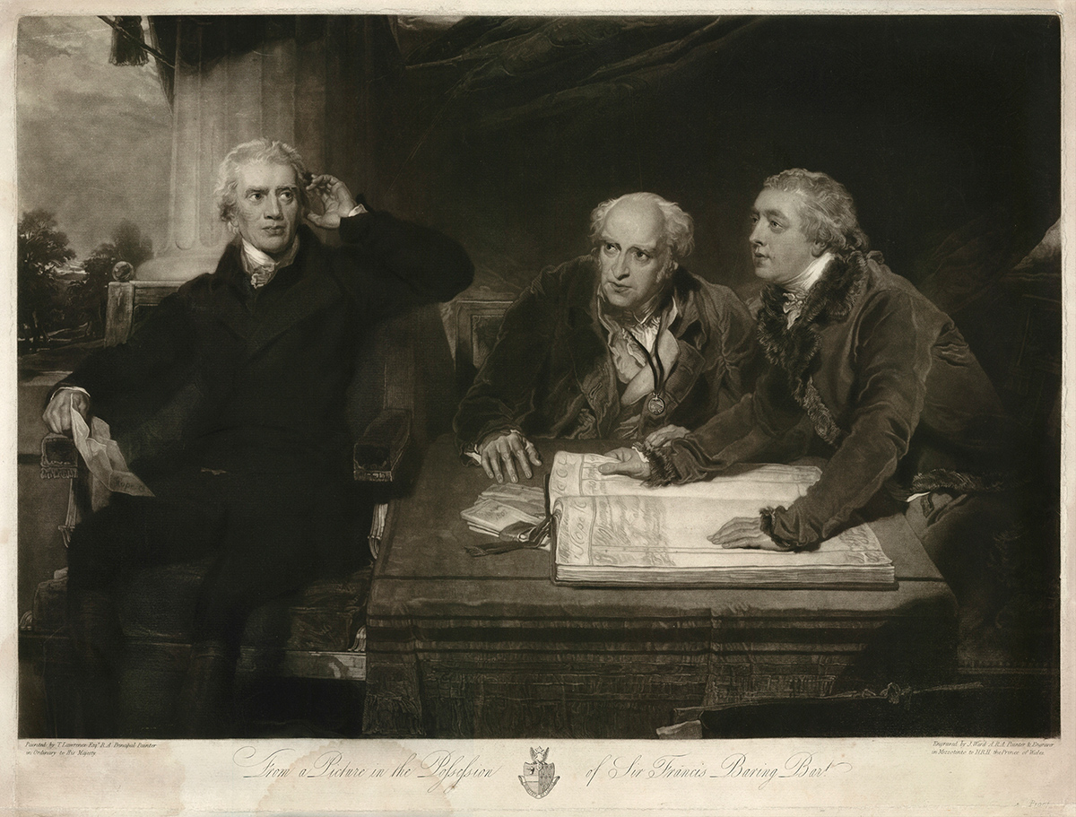 Portait engraving of three men sitting around a desk with one holding his hand up to his ear.