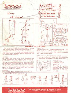 Beco Products Boy Choir Singer #IL-973, Girl Choir Singer #IL-974, Boy Angel #IL-962, Girl Angel #IL-963 Instruction Manual (1962-10).pdf preview