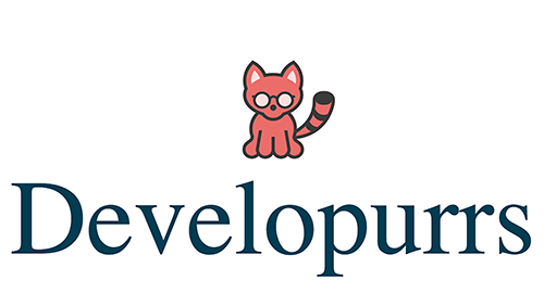 Logo for developurrs with a cat.