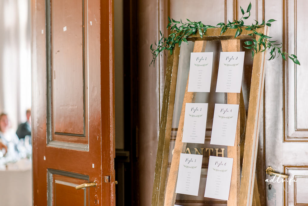 Green laurel seating plan design. Photo by ADLV Photography.  item