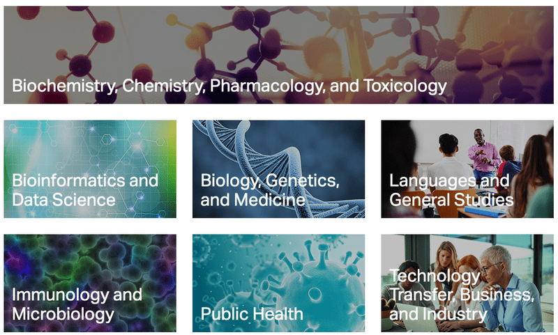 Image-based course categories on FAES homepage