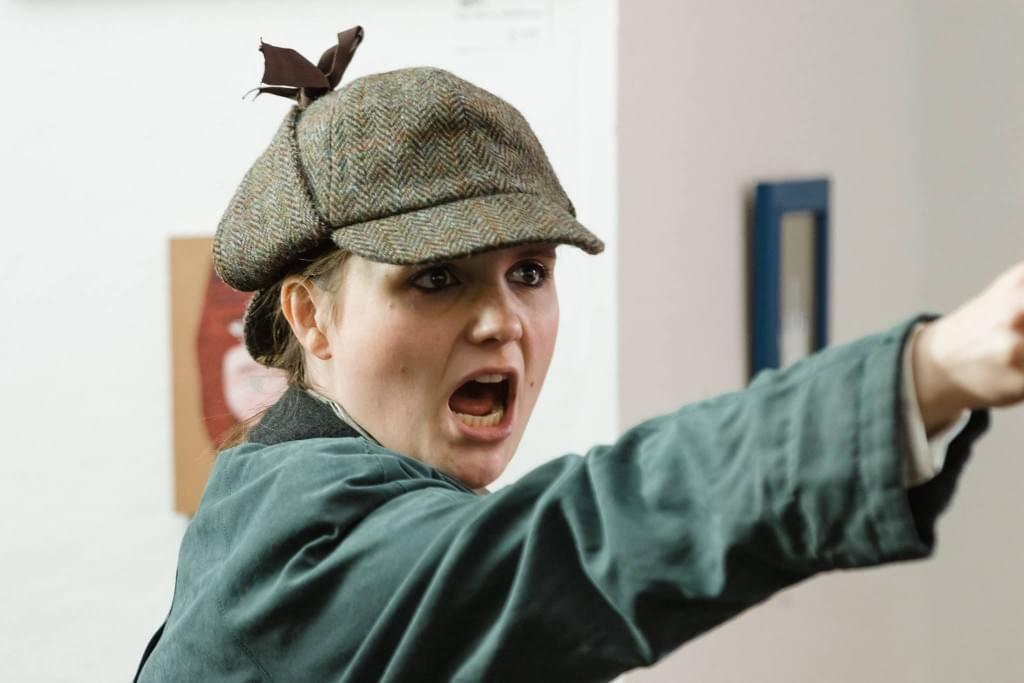 Jasmine Atkins-Smart, rehearsing for The Accidental Adventures of Sherlock Holmes