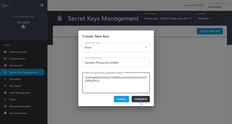 Plain encryption key