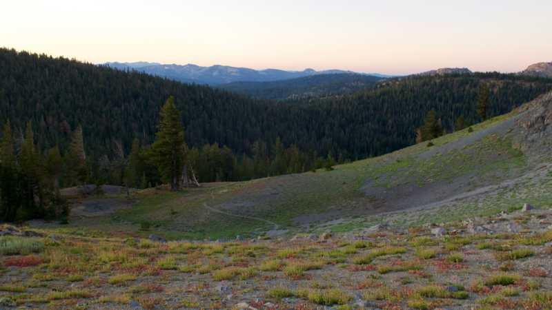 View from a PCT campsite at sunrise