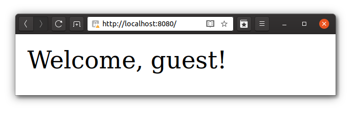 Webpage displaying welcome guest