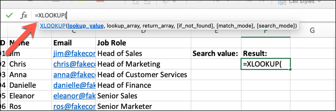 An Excel spreadsheet containing four columns of data: Employee Name, ID, Email Address, and Job Role. An empty cell has been highlighted and the XLOOKUP function typed into the formula bar.
