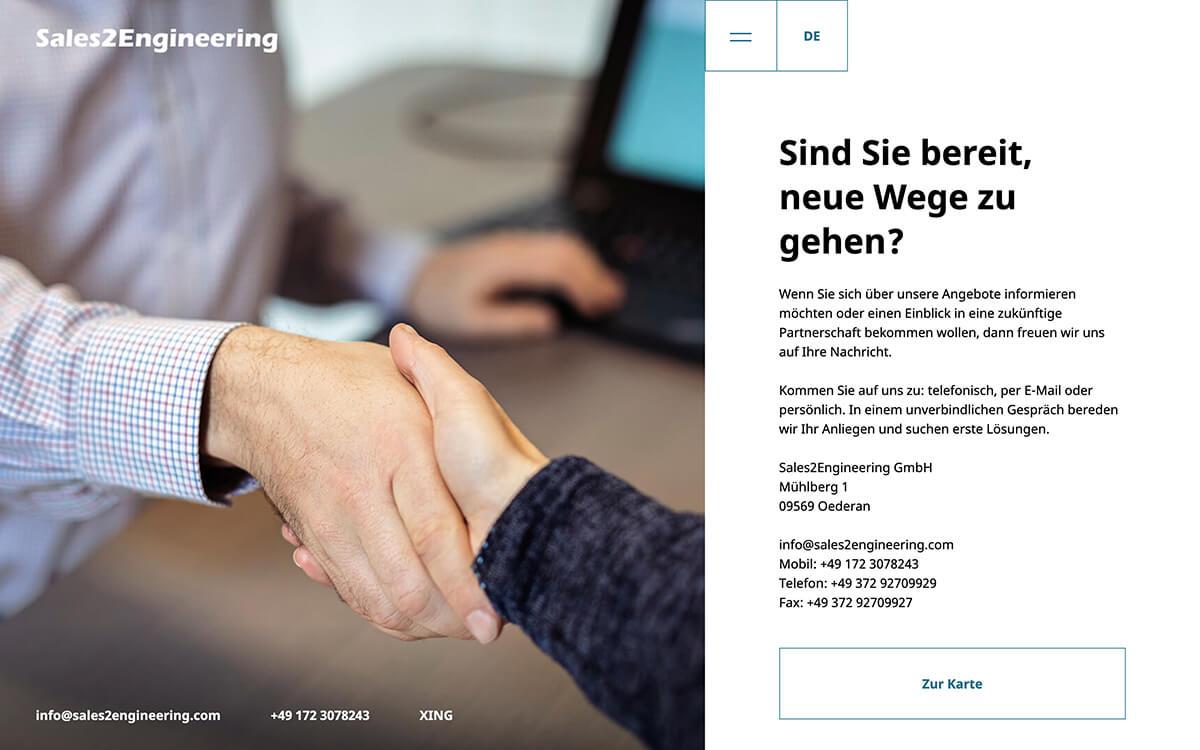 Website von Sales2Engineering: Kontaktseite