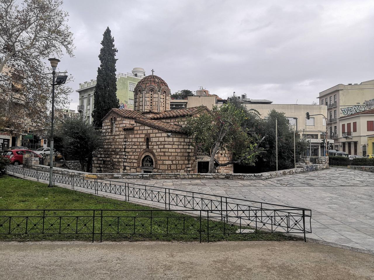 Urban churchyard on a square