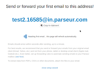 Parseur awaits your first email