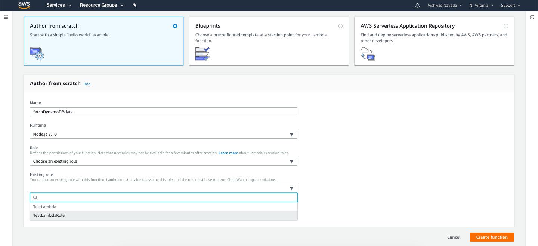 Create Lambda Function Nodejs AWS