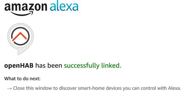 Configuration of myopenhab.org for Alexa finished